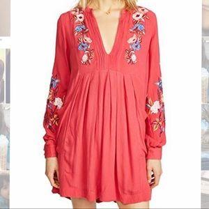 Free People Mia Linen Mini Red Dress
